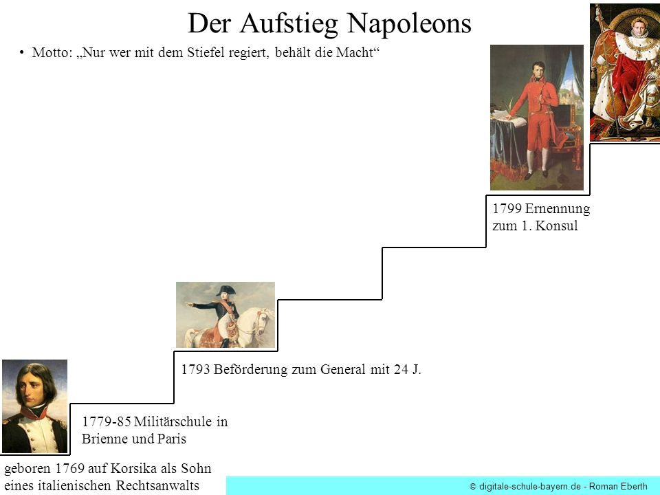 Motto: Nur wer mit dem Stiefel regiert, behält die Macht 1793 Beförderung zum General mit 24 J. geboren 1769 auf Korsika als Sohn eines italienischen
