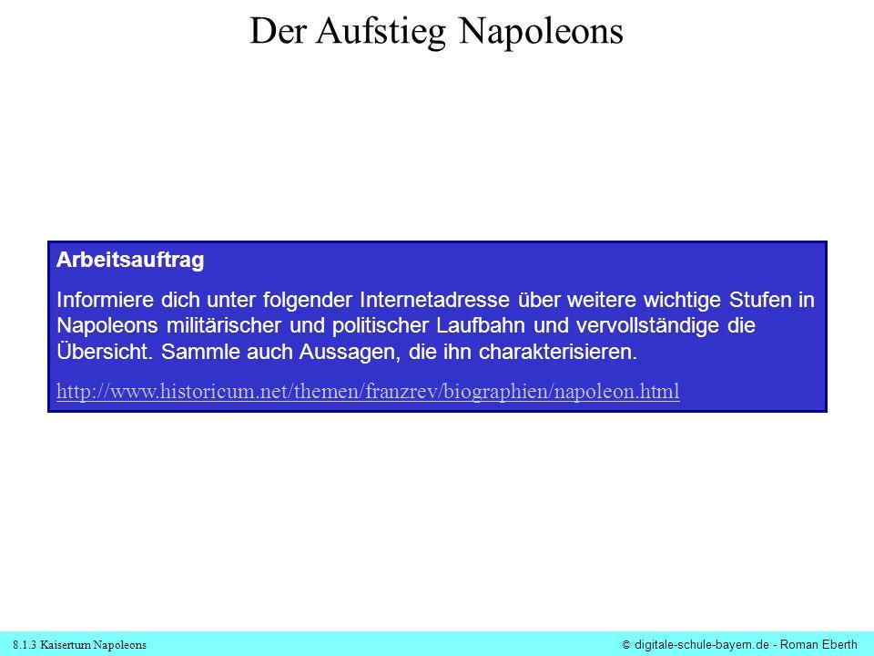 8.1.3 Kaisertum Napoleons© digitale-schule-bayern.de - Roman Eberth Arbeitsauftrag Informiere dich unter folgender Internetadresse über weitere wichti