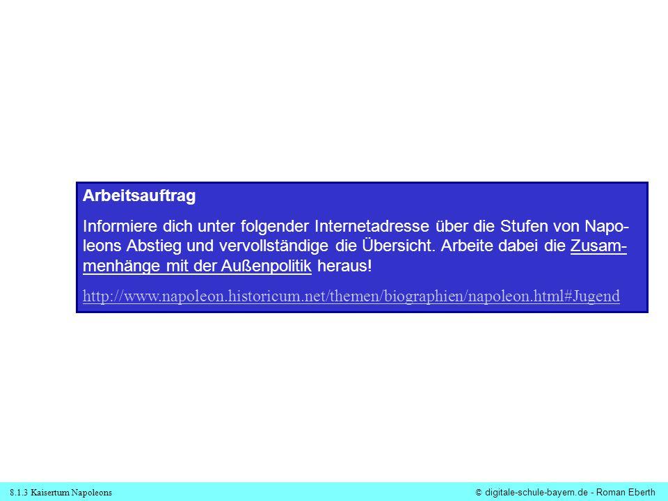 8.1.3 Kaisertum Napoleons© digitale-schule-bayern.de - Roman Eberth Arbeitsauftrag Informiere dich unter folgender Internetadresse über die Stufen von