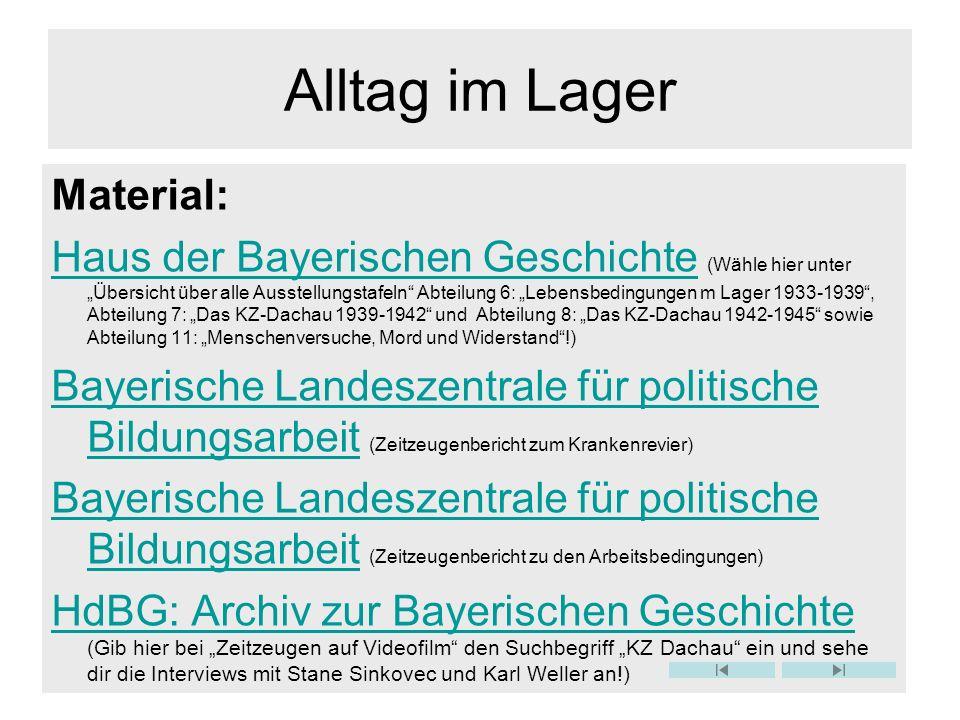 Alltag im Lager Material: Haus der Bayerischen GeschichteHaus der Bayerischen Geschichte (Wähle hier unter Übersicht über alle Ausstellungstafeln Abte