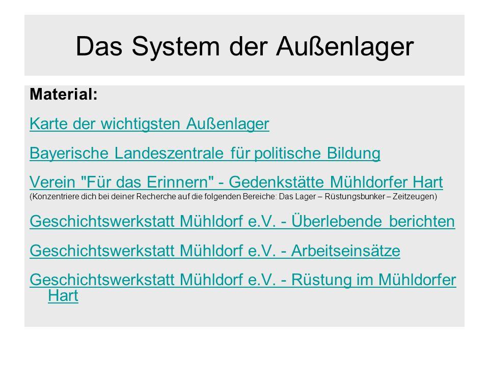 Das System der Außenlager Material: Karte der wichtigsten Außenlager Bayerische Landeszentrale für politische Bildung Verein