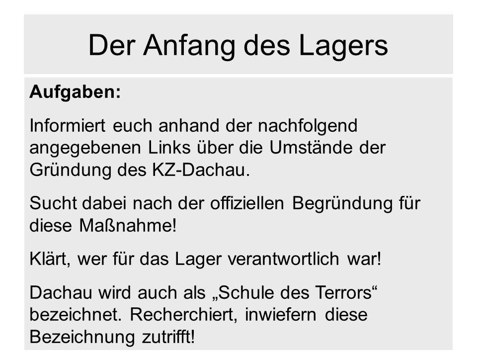 Der Anfang des Lagers Aufgaben: Informiert euch anhand der nachfolgend angegebenen Links über die Umstände der Gründung des KZ-Dachau. Sucht dabei nac