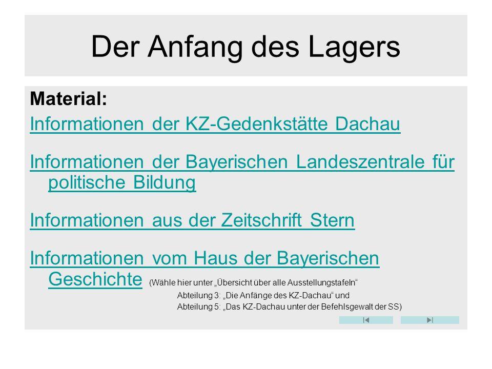 Der Anfang des Lagers Material: Informationen der KZ-Gedenkstätte Dachau Informationen der Bayerischen Landeszentrale für politische Bildung Informati