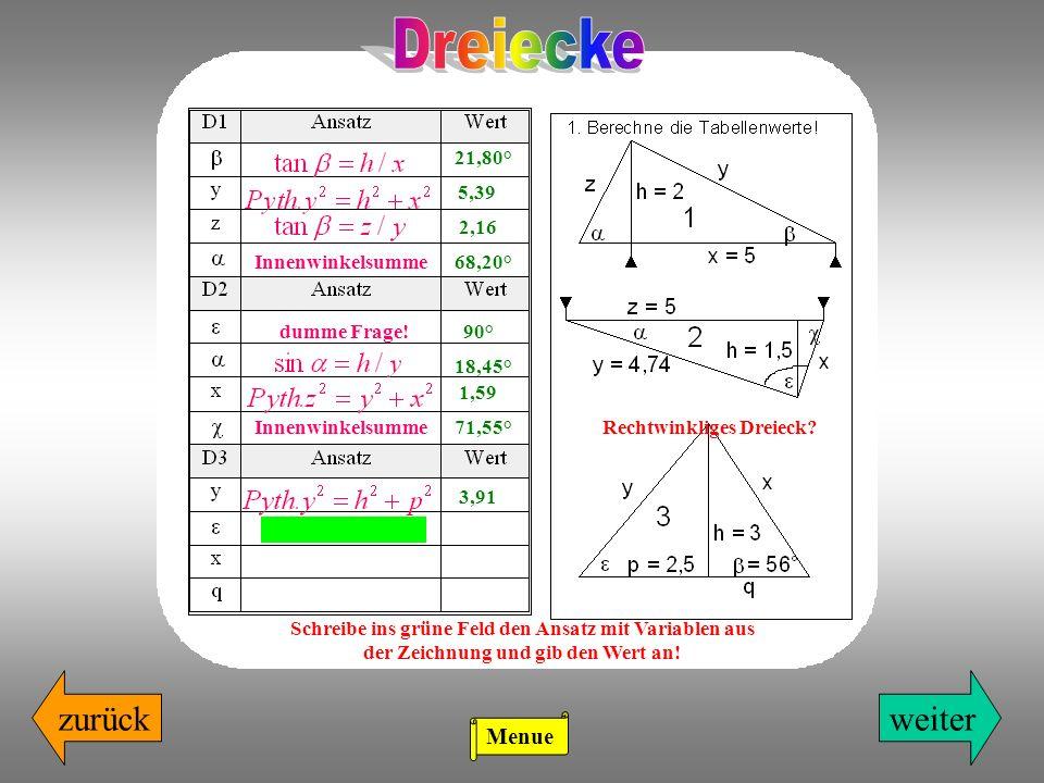 zurückweiter 21,80° 5,39 2,16 Schreibe ins grüne Feld den Ansatz mit Variablen aus der Zeichnung und gib den Wert an! Innenwinkelsumme68,20° 90°dumme