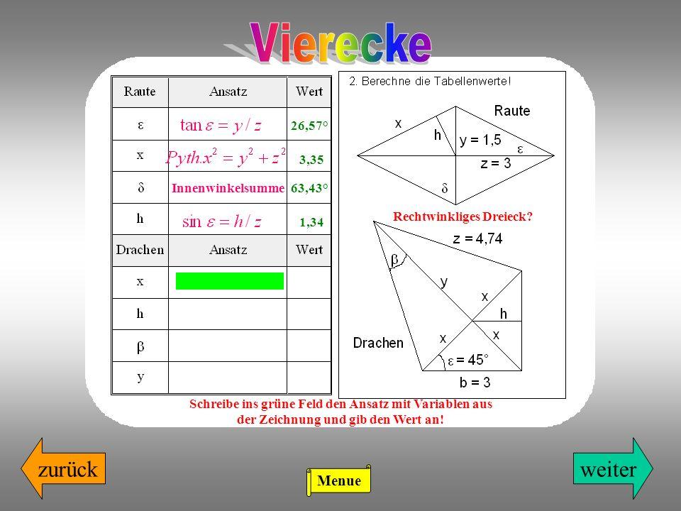weiterzurück Rechtwinkliges Dreieck? Schreibe ins grüne Feld den Ansatz mit Variablen aus der Zeichnung und gib den Wert an! 26,57° 3,35 Innenwinkelsu
