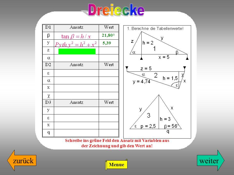 zurückweiter 21,80° 5,39 2,16 Schreibe ins grüne Feld den Ansatz mit Variablen aus der Zeichnung und gib den Wert an.