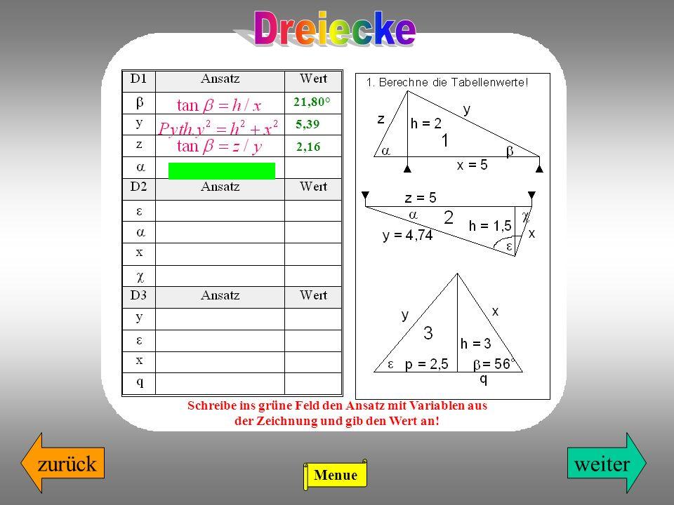 zurückweiter 21,80° 5,39 2,16 Schreibe ins grüne Feld den Ansatz mit Variablen aus der Zeichnung und gib den Wert an! Menue