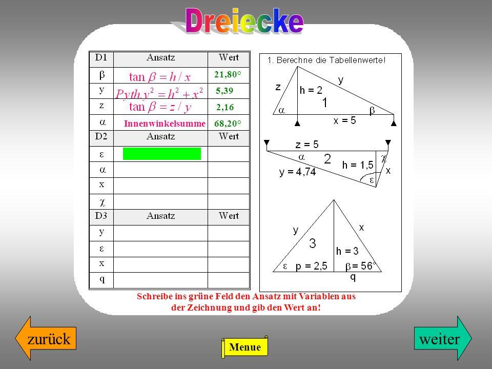 zurückweiter 21,80° 5,39 2,16 Schreibe ins grüne Feld den Ansatz mit Variablen aus der Zeichnung und gib den Wert an! Innenwinkelsumme68,20° Menue
