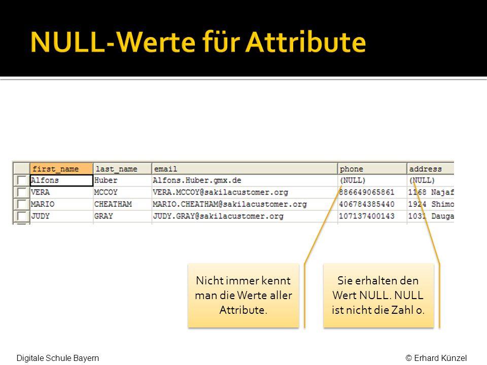 Nicht immer kennt man die Werte aller Attribute.Sie erhalten den Wert NULL.