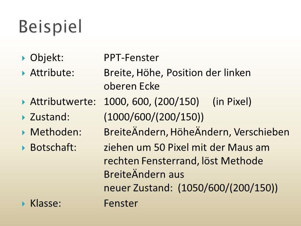 Objekt:PPT-Fenster Attribute:Breite, Höhe, Position der linken oberen Ecke Attributwerte:1000, 600, (200/150) (in Pixel) Zustand:(1000/600/(200/150))