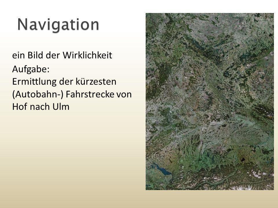 erste Stufe: verkleinertes Modell Unwesentlich: Geländebeschaffenheit, Häuser, Höhenunterschiede, … Konzentration auf Straßen