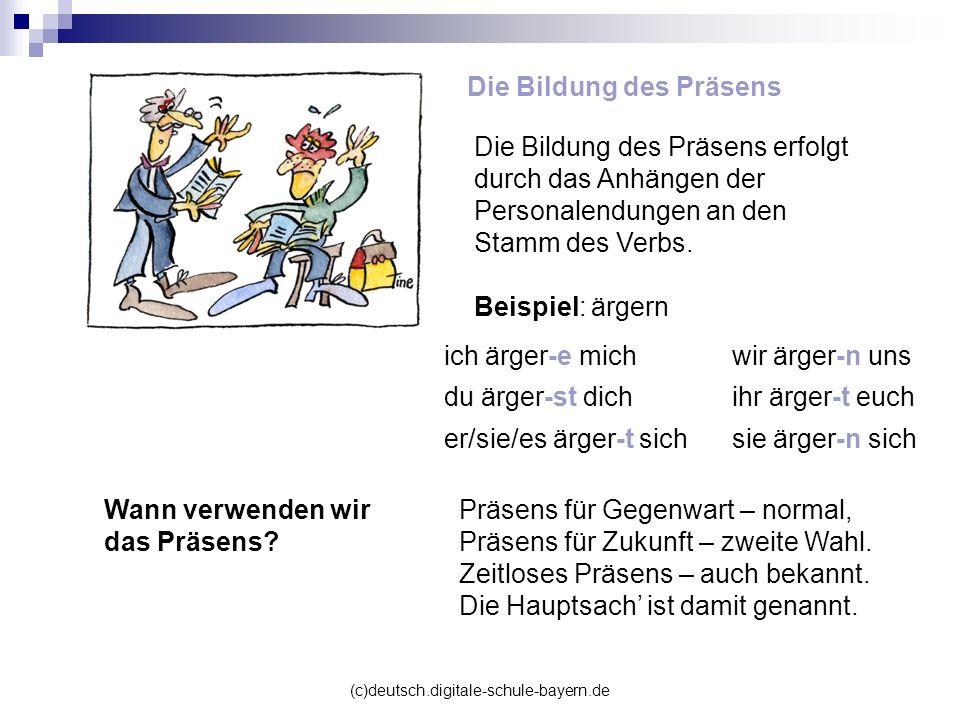 (c)deutsch.digitale-schule-bayern.de Die Bildung des Präsens ich ärger-e michwir ärger-n uns du ärger-st dichihr ärger-t euch er/sie/es ärger-t sichsi