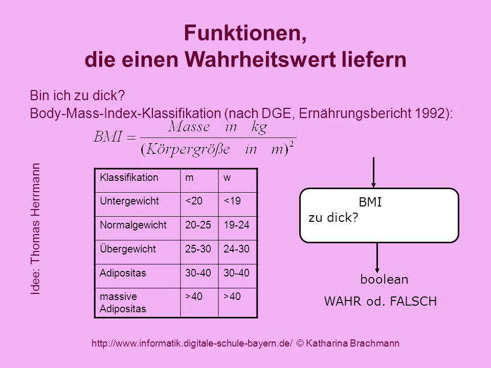 http://www.informatik.digitale-schule-bayern.de/ © Katharina Brachmann Funktionen, die einen Wahrheitswert liefern Bin ich zu dick? Body-Mass-Index-Kl