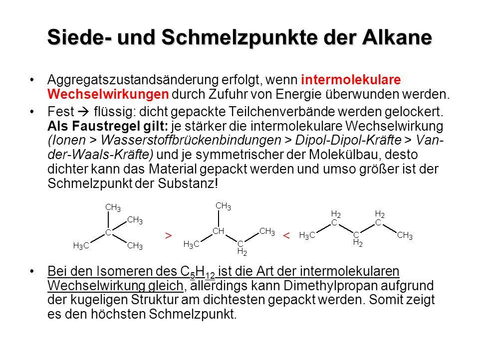 Siede- und Schmelzpunkte der Alkane Aggregatszustandsänderung erfolgt, wenn intermolekulare Wechselwirkungen durch Zufuhr von Energie überwunden werde