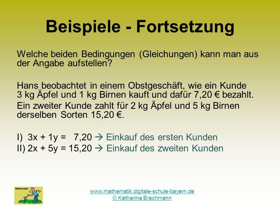 www.mathematik.digitale-schule-bayern.de © Katharina Brachmann Beispiele - Fortsetzung Welche beiden Bedingungen (Gleichungen) kann man aus der Angabe