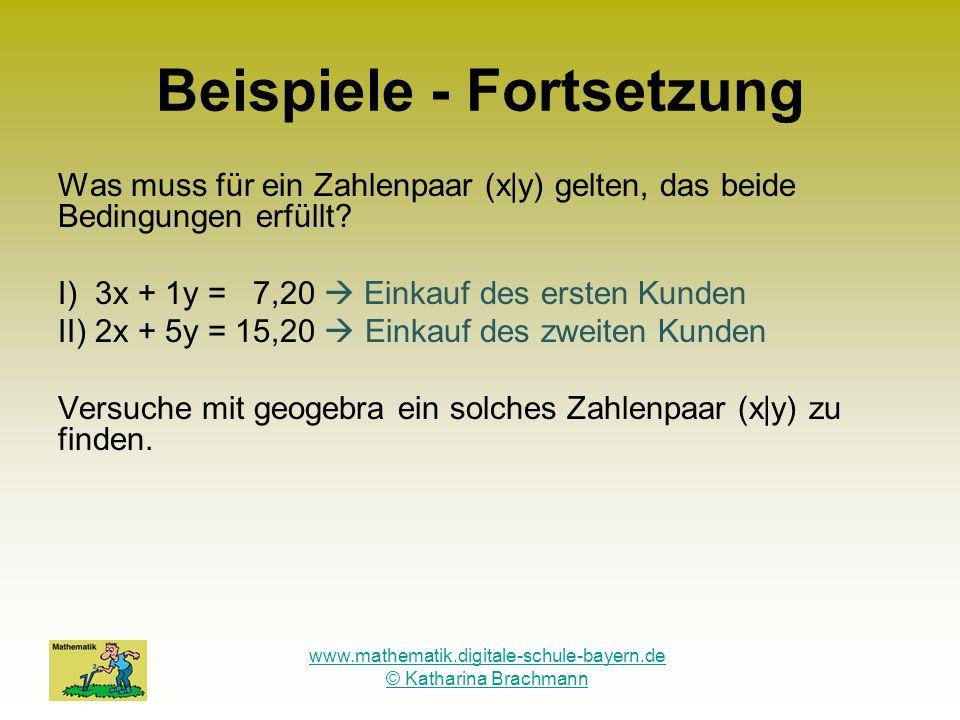 www.mathematik.digitale-schule-bayern.de © Katharina Brachmann Beispiele - Fortsetzung Was muss für ein Zahlenpaar (x|y) gelten, das beide Bedingungen