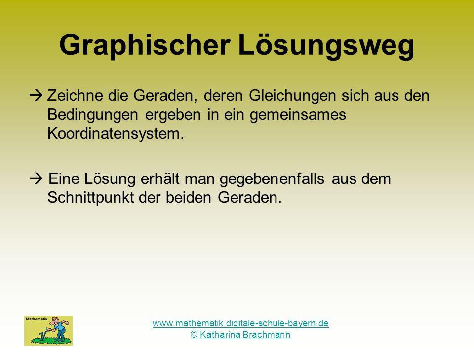 www.mathematik.digitale-schule-bayern.de © Katharina Brachmann Graphischer Lösungsweg Zeichne die Geraden, deren Gleichungen sich aus den Bedingungen