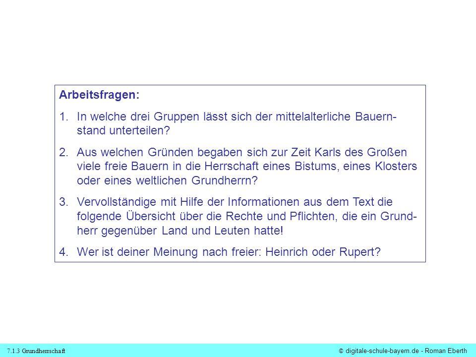 7.1.3 Grundherrschaft© digitale-schule-bayern.de - Roman Eberth Arbeitsfragen: 1.In welche drei Gruppen lässt sich der mittelalterliche Bauern- stand