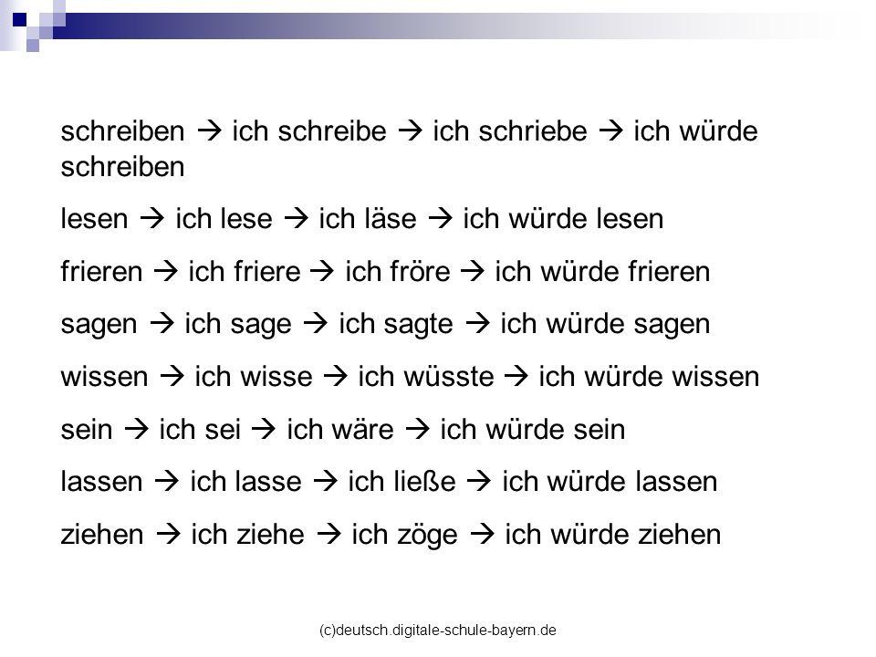 (c)deutsch.digitale-schule-bayern.de schreiben ich schreibe ich schriebe ich würde schreiben lesen ich lese ich läse ich würde lesen frieren ich frier
