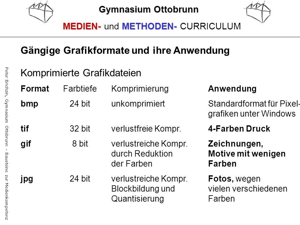 Peter Brichzin, Gymnasium Ottobrunn – Bausteine zur Medienkompetenz Gymnasium Ottobrunn MEDIEN-METHODEN- MEDIEN- und METHODEN- CURRICULUM Komprimierte