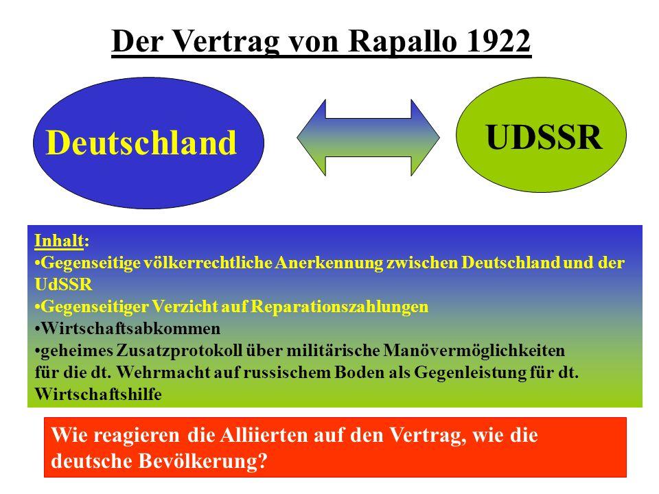 Außenpolitische Isolation Deutschland UDSSR Der Vertrag von Rapallo 1922 Inhalt: Gegenseitige völkerrechtliche Anerkennung zwischen Deutschland und der UdSSR Gegenseitiger Verzicht auf Reparationszahlungen Wirtschaftsabkommen geheimes Zusatzprotokoll über militärische Manövermöglichkeiten für die dt.