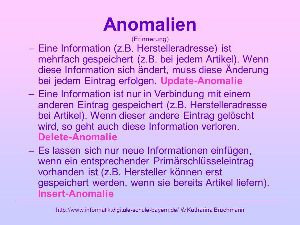 http://www.informatik.digitale-schule-bayern.de/ © Katharina Brachmann Anomalien (Erinnerung) –Eine Information (z.B.