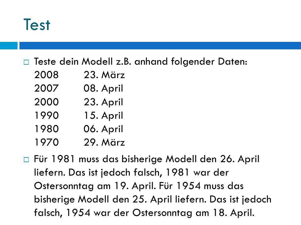 Test Teste dein Modell z.B. anhand folgender Daten: 200823. März 200708. April 200023. April 199015. April 198006. April 197029. März Für 1981 muss da