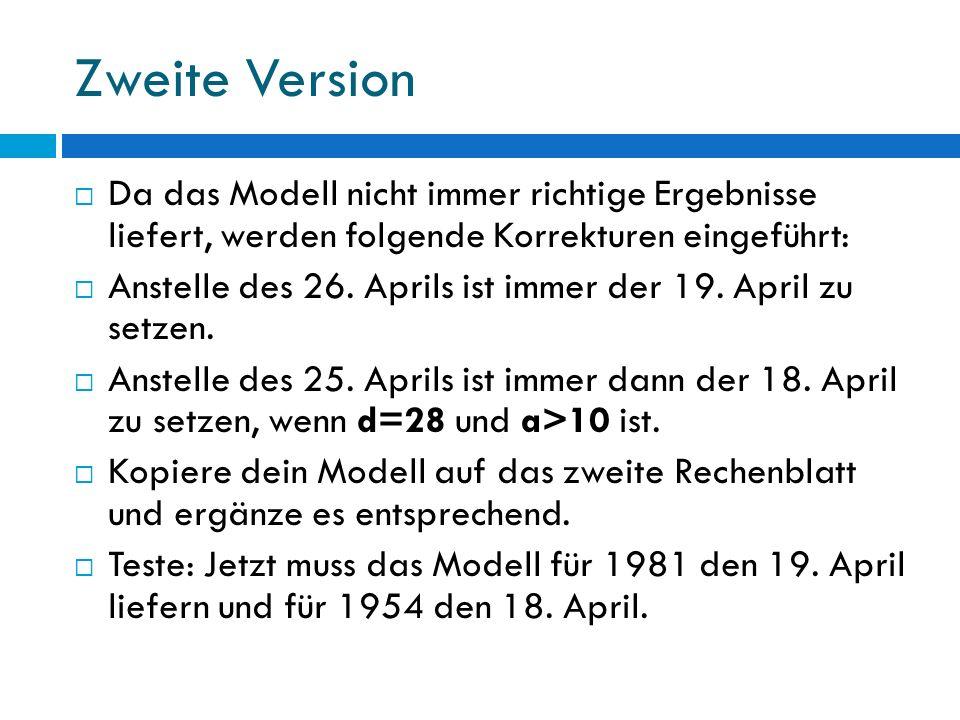 Zweite Version Da das Modell nicht immer richtige Ergebnisse liefert, werden folgende Korrekturen eingeführt: Anstelle des 26. Aprils ist immer der 19