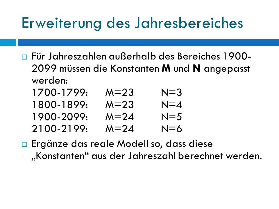 Erweiterung des Jahresbereiches Für Jahreszahlen außerhalb des Bereiches 1900- 2099 müssen die Konstanten M und N angepasst werden: 1700-1799:M=23N=3