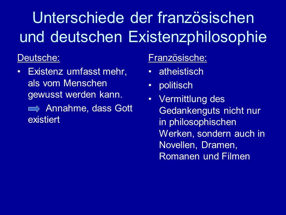 Unterschiede der französischen und deutschen Existenzphilosophie Deutsche: Existenz umfasst mehr, als vom Menschen gewusst werden kann. Annahme, dass