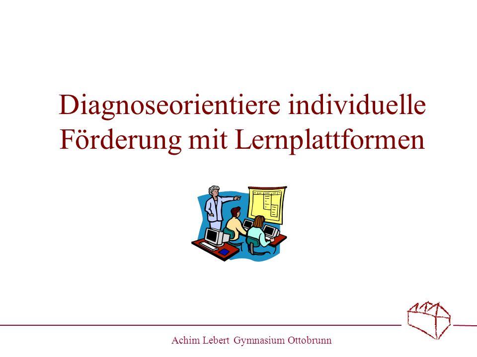 Achim Lebert Gymnasium Ottobrunn Herausforderung Pisa und G8 in Bayern Jahrgangsstufentests zur Sicherung von Standards Anspruch einer individuellen Förderung der Schüler mit G8 Voraussetzung: Diagnosekompetenz des Lehrers Entwicklung von Fördermaßnahmen Evaluation, ob Fördermaßnahmen erfolgreich sind