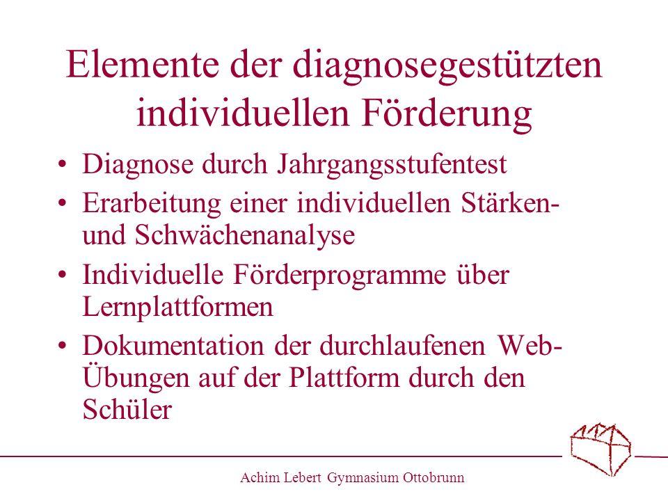 Achim Lebert Gymnasium Ottobrunn Elemente der diagnosegestützten individuellen Förderung Diagnose durch Jahrgangsstufentest Erarbeitung einer individu