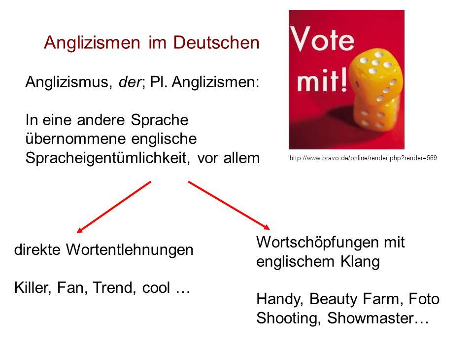 Anglizismen im Deutschen Anglizismus, der; Pl. Anglizismen: In eine andere Sprache übernommene englische Spracheigentümlichkeit, vor allem http://www.