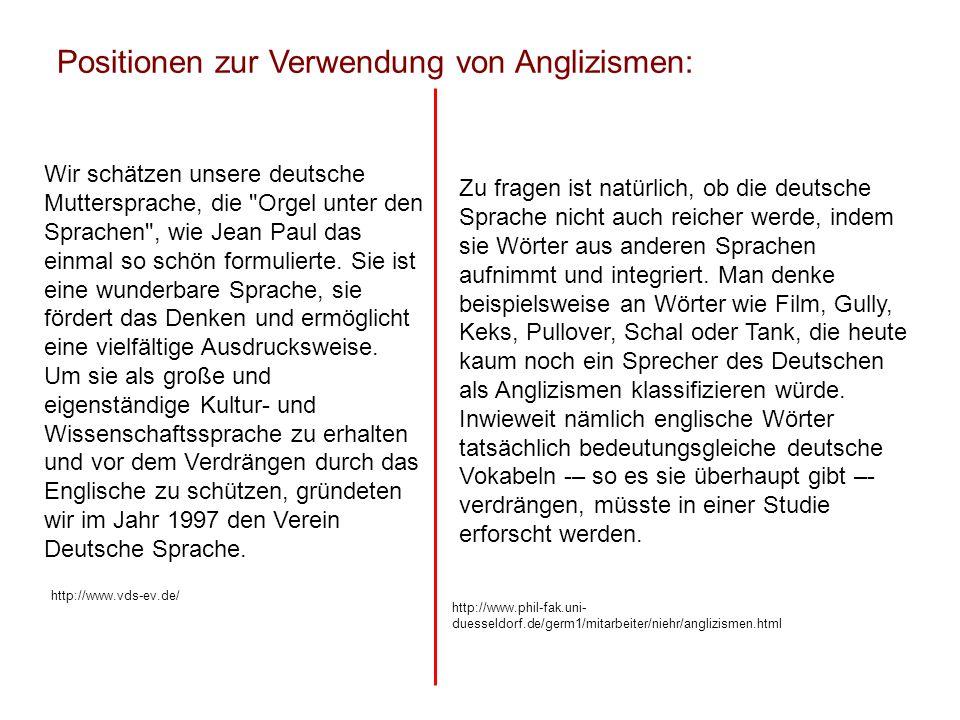 Positionen zur Verwendung von Anglizismen: Wir schätzen unsere deutsche Muttersprache, die