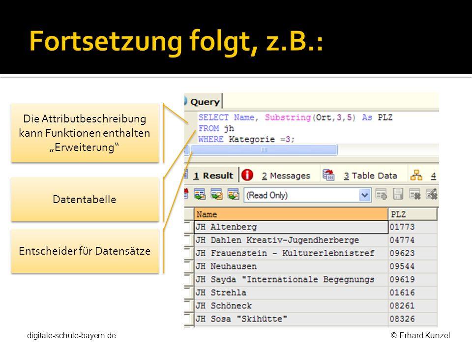 Datentabelle Die Attributbeschreibung kann Funktionen enthalten Erweiterung Entscheider für Datensätze digitale-schule-bayern.de © Erhard Künzel