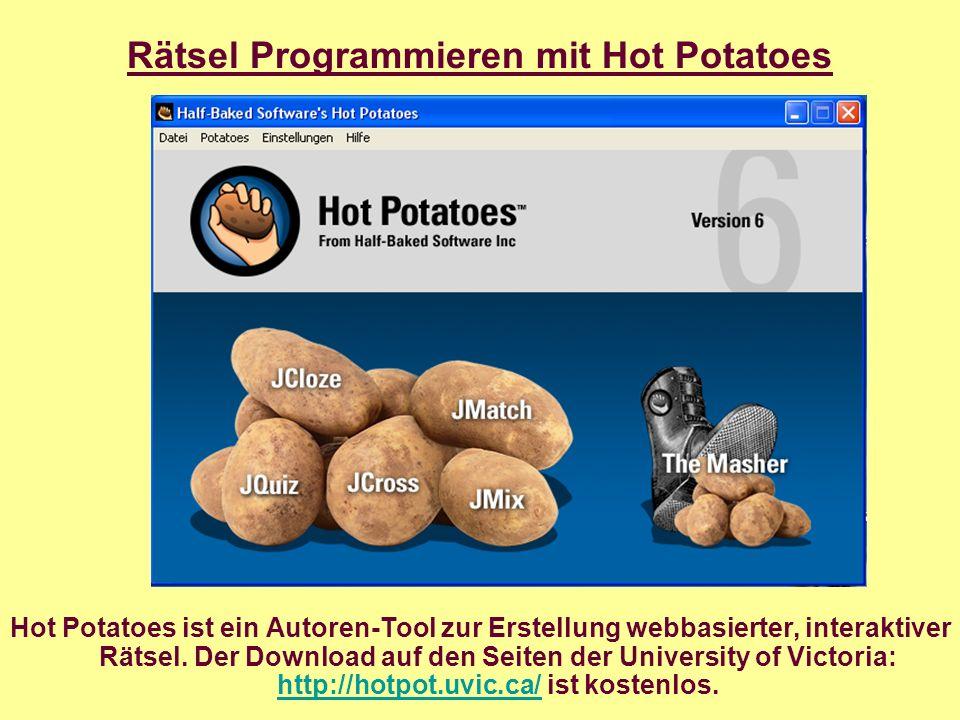 Hot Potatoes ist ein Autoren-Tool zur Erstellung webbasierter, interaktiver Rätsel.