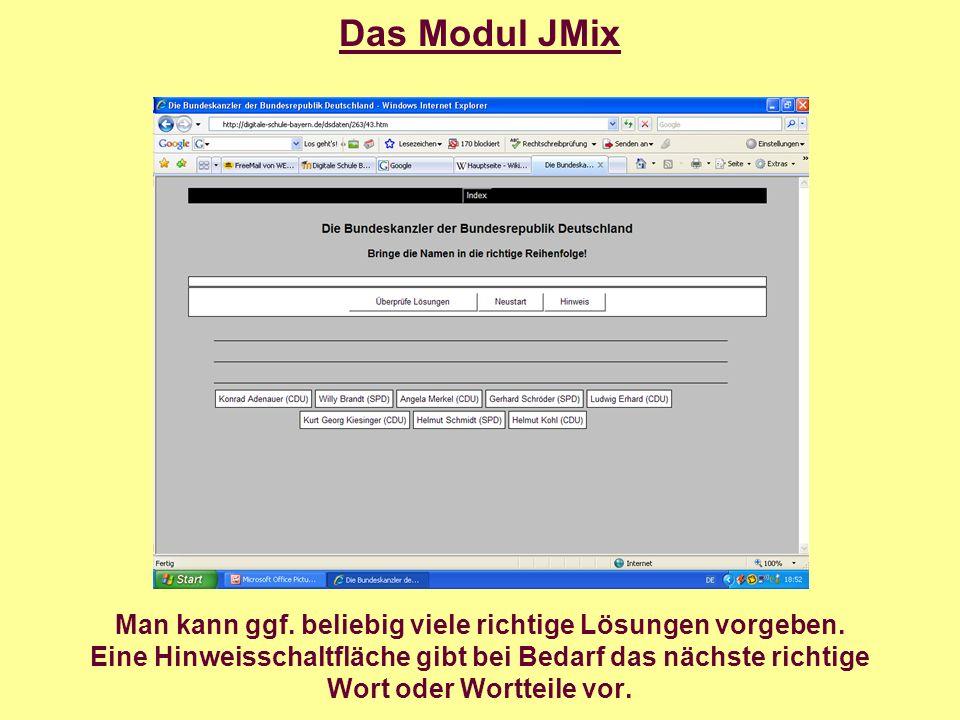 Das Modul JMatch Das Modul JMatch erzeugt Zu- bzw. Anordnungsübungen.