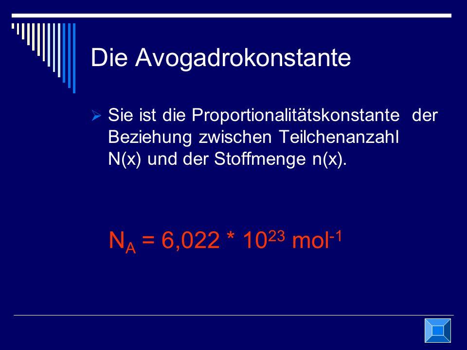 Die Avogadrokonstante Sie ist die Proportionalitätskonstante der Beziehung zwischen Teilchenanzahl N(x) und der Stoffmenge n(x). N A = 6,022 * 10 23 m
