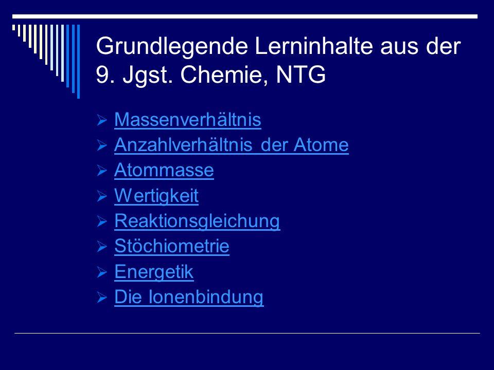 Grundlegende Lerninhalte aus der 9. Jgst. Chemie, NTG Massenverhältnis Anzahlverhältnis der Atome Atommasse Wertigkeit Reaktionsgleichung Stöchiometri
