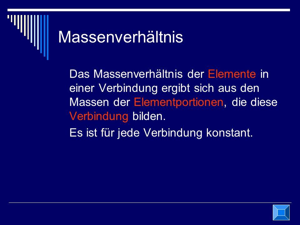 Massenverhältnis Das Massenverhältnis der Elemente in einer Verbindung ergibt sich aus den Massen der Elementportionen, die diese Verbindung bilden. E