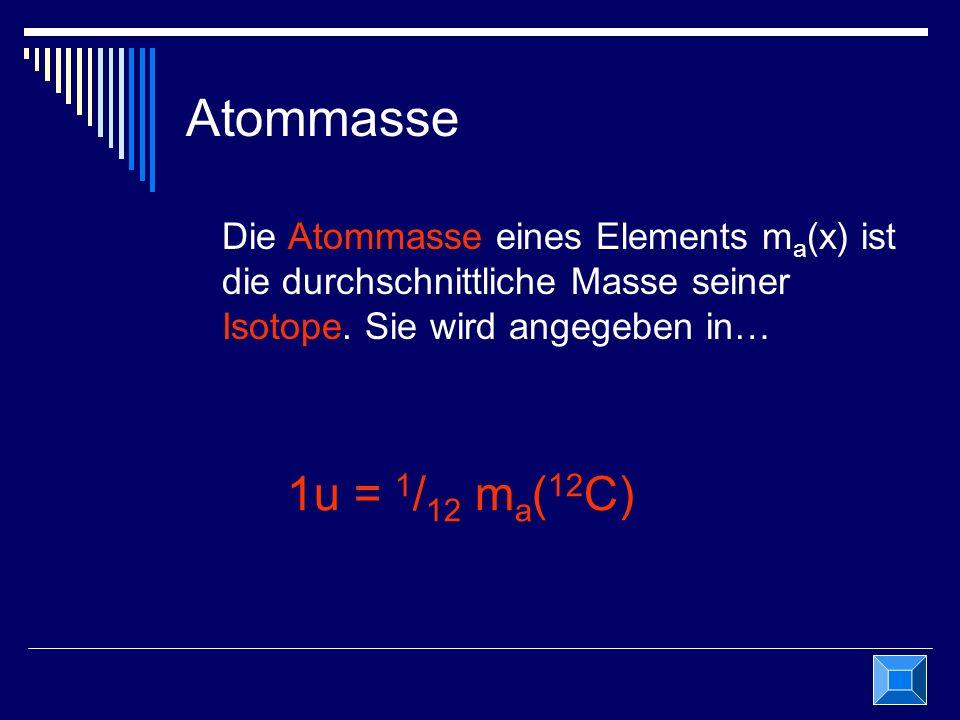Atommasse Die Atommasse eines Elements m a (x) ist die durchschnittliche Masse seiner Isotope. Sie wird angegeben in… 1u = 1 / 12 m a ( 12 C)