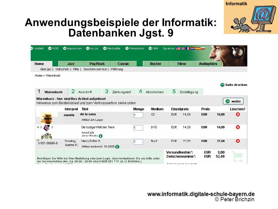 www.informatik.digitale-schule-bayern.de www.informatik.digitale-schule-bayern.de © Peter Brichzin Anwendungsbeispiele der Informatik: Datenbanken Jgs