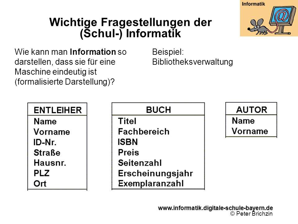 www.informatik.digitale-schule-bayern.de www.informatik.digitale-schule-bayern.de © Peter Brichzin Wichtige Fragestellungen der (Schul-) Informatik Wie kann man Information so darstellen, dass sie für eine Maschine eindeutig ist (formalisierte Darstellung).