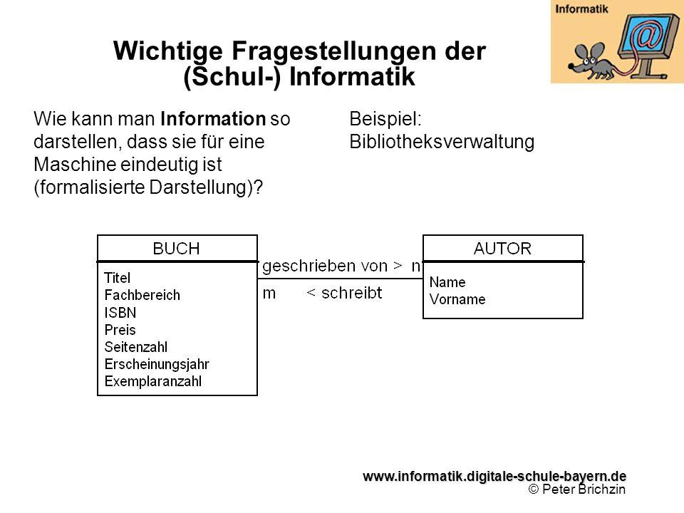 www.informatik.digitale-schule-bayern.de www.informatik.digitale-schule-bayern.de © Peter Brichzin Wie kann man Information so darstellen, dass sie fü