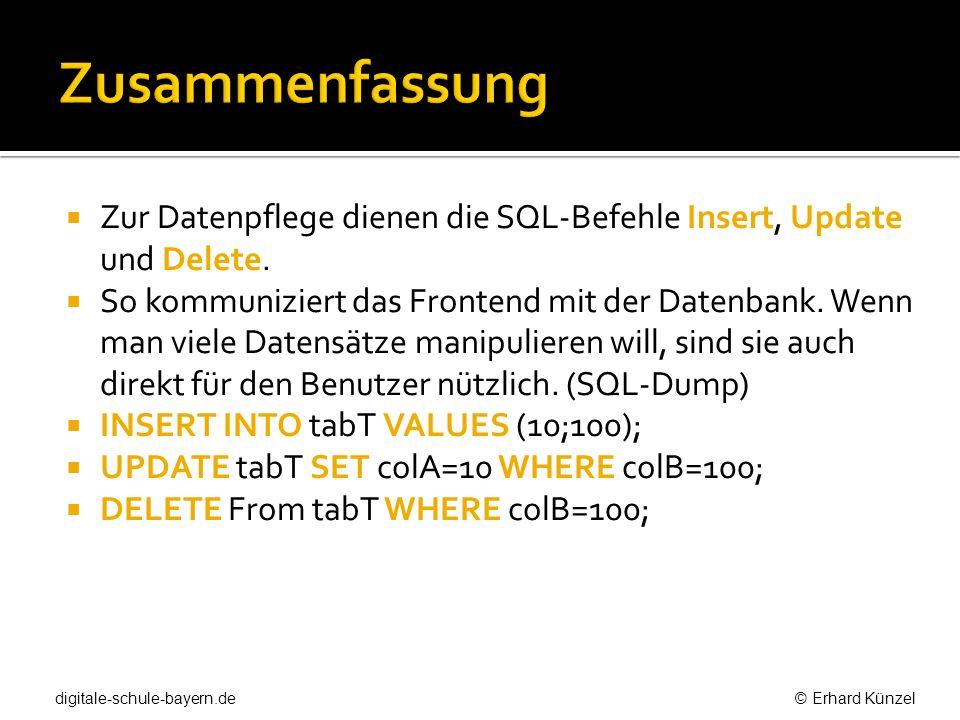 Zur Datenpflege dienen die SQL-Befehle Insert, Update und Delete. So kommuniziert das Frontend mit der Datenbank. Wenn man viele Datensätze manipulier