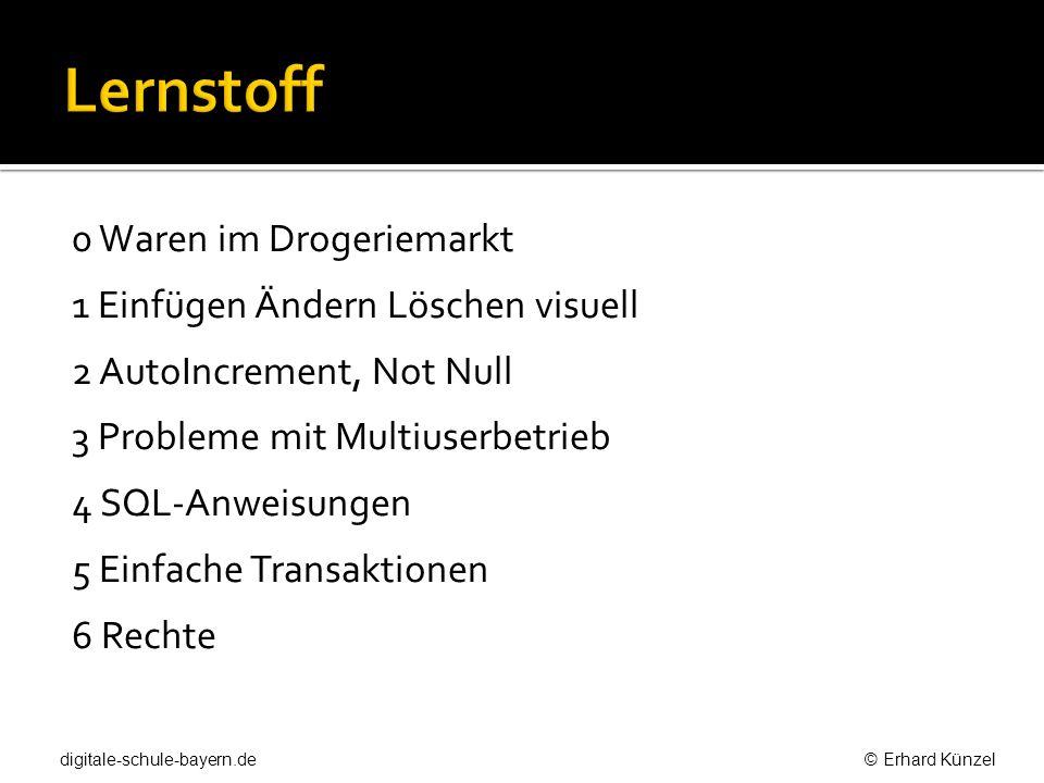 CREATE TABLE sortiment ( ArtNr INTEGER AUTO_INCREMENT, Artikel VARCHAR(50), Kategorie VARCHAR (50), Hersteller VARCHAR (50), EP DECIMAL(5,2), VP DECIMAL (5,2), Bestand INTEGER, PRIMARY KEY(ArtNr) ); digitale-schule-bayern.de © Erhard Künzel