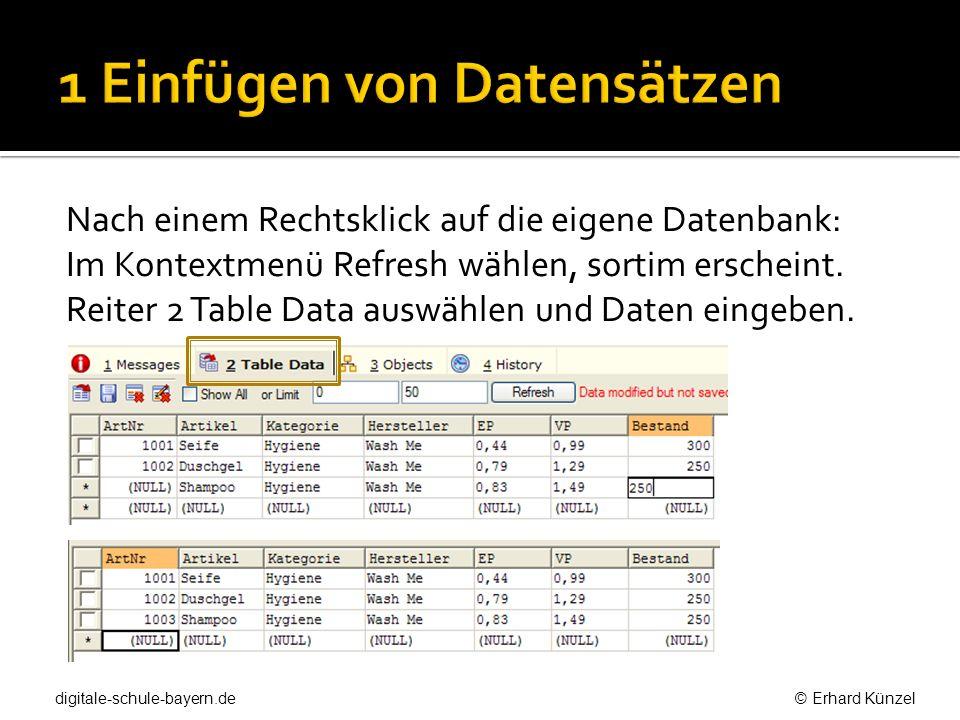 Nach einem Rechtsklick auf die eigene Datenbank: Im Kontextmenü Refresh wählen, sortim erscheint. Reiter 2 Table Data auswählen und Daten eingeben. di