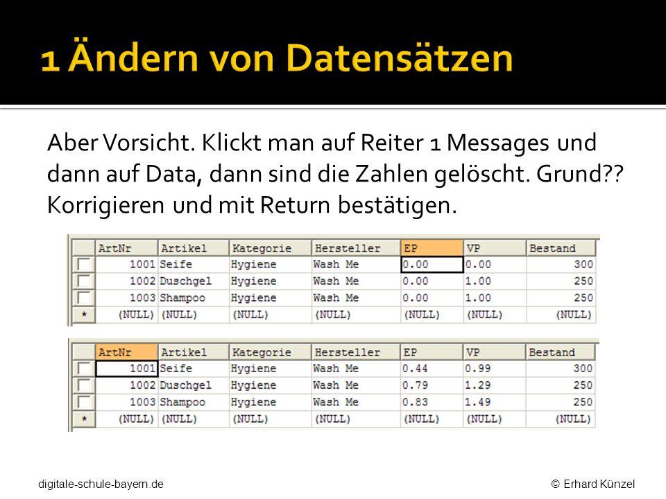 Aber Vorsicht. Klickt man auf Reiter 1 Messages und dann auf Data, dann sind die Zahlen gelöscht. Grund?? Korrigieren und mit Return bestätigen. digit