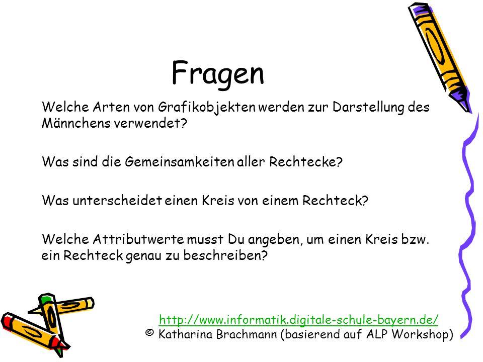 http://www.informatik.digitale-schule-bayern.de/ © Katharina Brachmann (basierend auf ALP Workshop) Fragen Welche Arten von Grafikobjekten werden zur