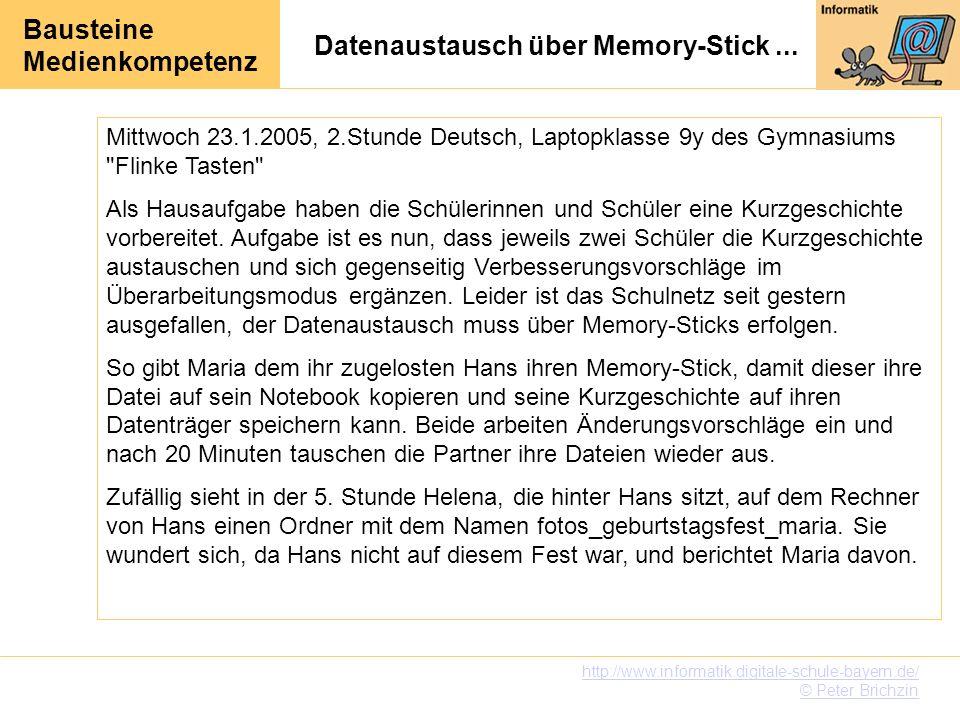 Bausteine Medienkompetenz http://www.informatik.digitale-schule-bayern.de/ © Peter Brichzin Datenaustausch über Memory-Stick... Mittwoch 23.1.2005, 2.